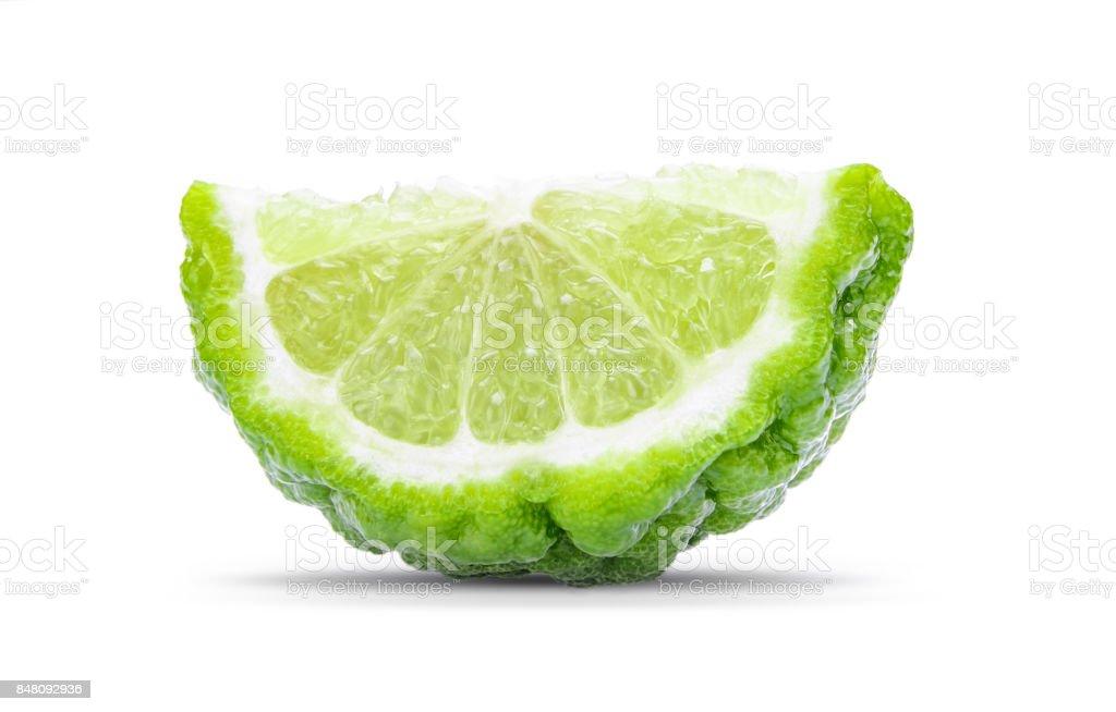 Tranche de bergamote isolé sur fond blanc - Photo