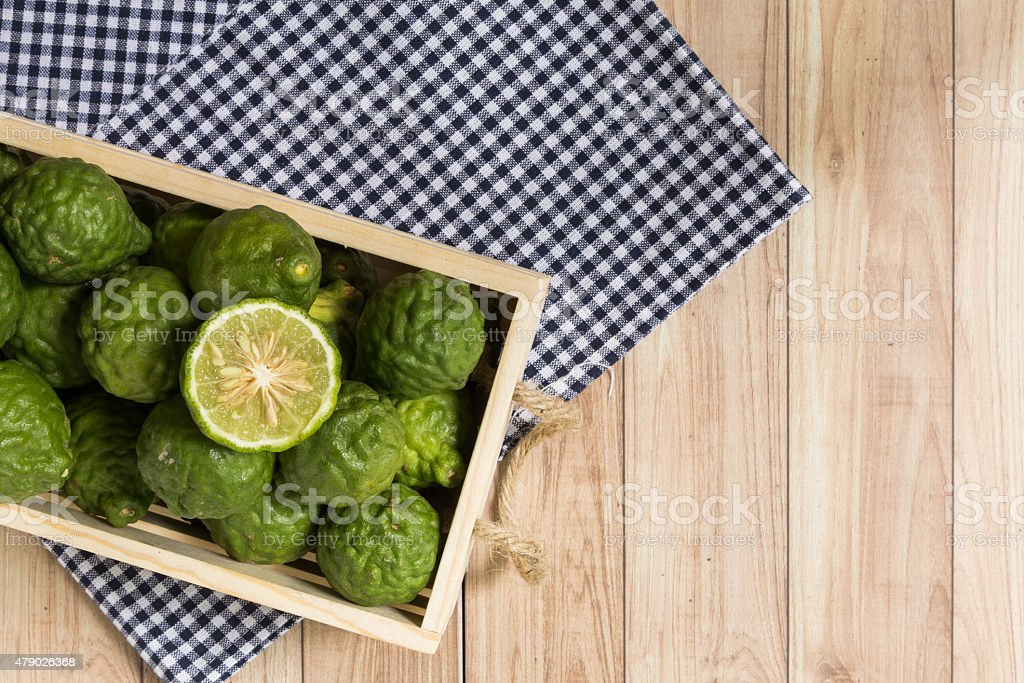 Bergamots in a wood box stock photo