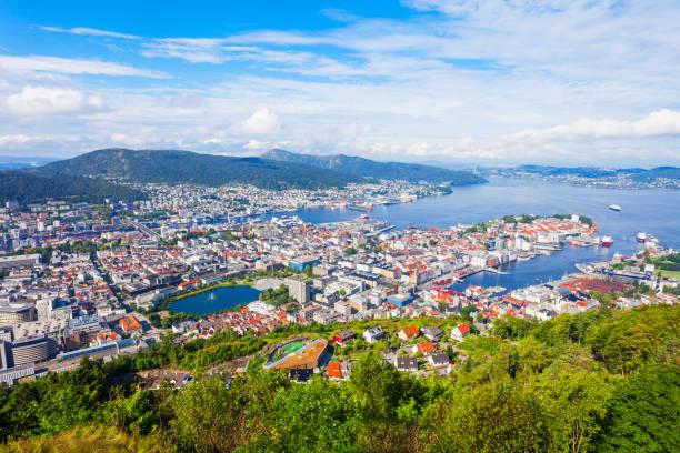 Bergen aerial panoramic view stock photo