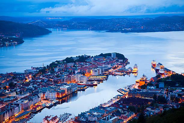 Bergen at night, panoramic view stock photo