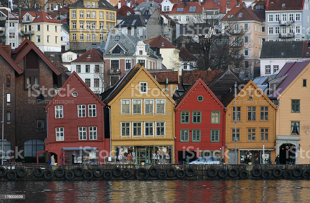 Bergen city, Norway modern and traditional wood housing royalty-free stock photo