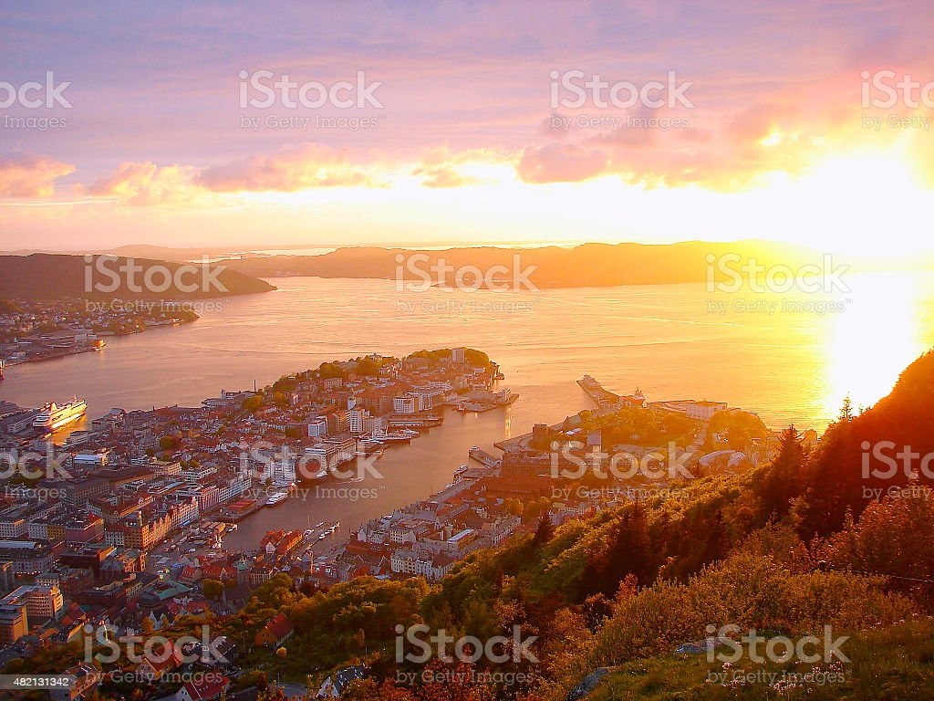 Bergen, fjords gateway panorama, dramatic sunset - Norway, Nordic countries stock photo