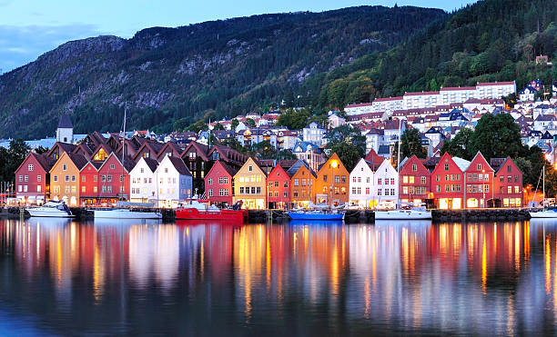bergen night scenery norway - norway stock pictures, royalty-free photos & images