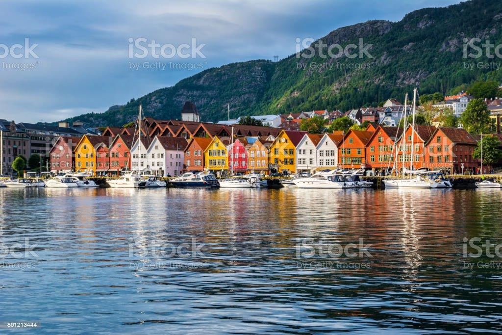 Bergen, Norway. View of historical buildings in Bryggen- Hanseatic wharf in Bergen, Norway. UNESCO World Heritage Site stock photo