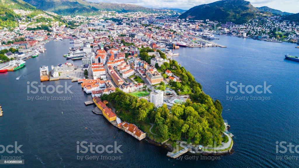 Bergen old town aerial view. Bergen, Norway. stock photo