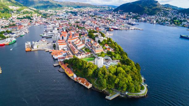 Bergen vieille ville vue aérienne. Bergen, Norvège. - Photo