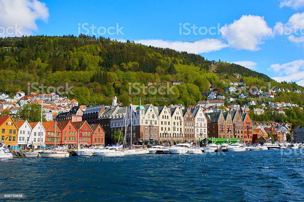 Bergen port a sunny day stock photo