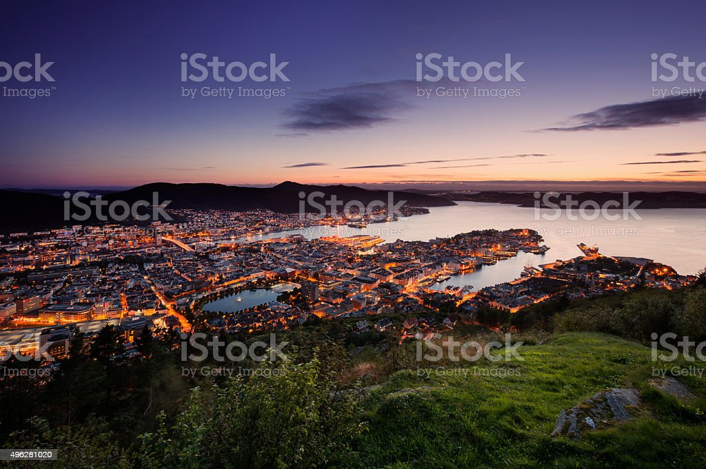 Bergen skyline from above during sunset stock photo