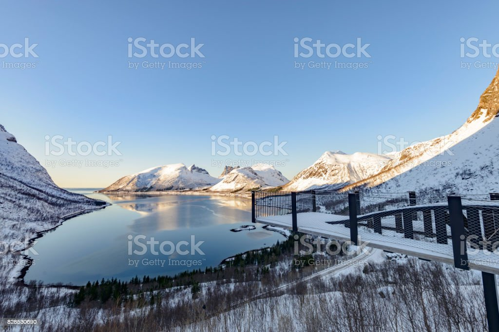 Bergsfjorden winter view on Senja island in Northern Norway stock photo