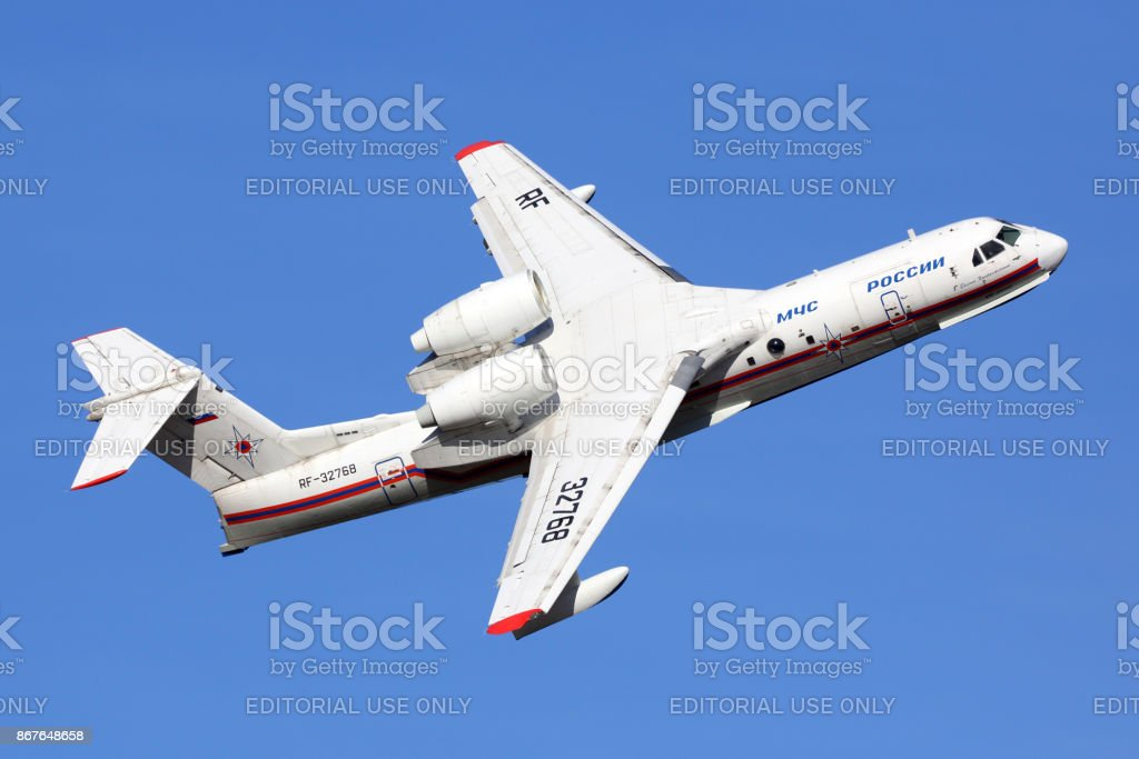 Beriev Be-200ChS RF-72368 shown at MAKS-2015 airshow in Zhukovsky. stock photo