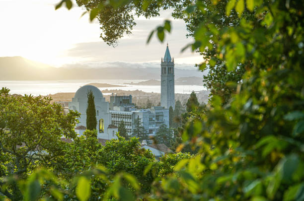 Berkeley Skyline wih Sather Tower Beautiful view of Berkeley Skyline, including Sather Tower, or Campanile, and International House, with San Francisco Bay in the background. bell tower tower stock pictures, royalty-free photos & images
