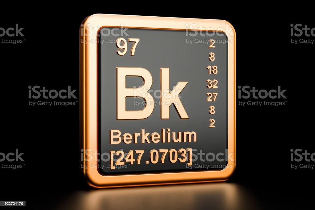 Berkelium Bk, chemical element. 3D rendering isolated on black background stock photo
