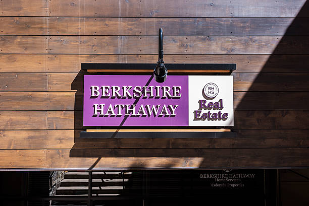 Berkshire Hathaway real estate sign in Vail, Colorado stock photo