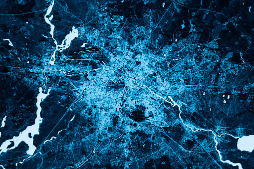 Berlin Abstract City Map Top View Dark