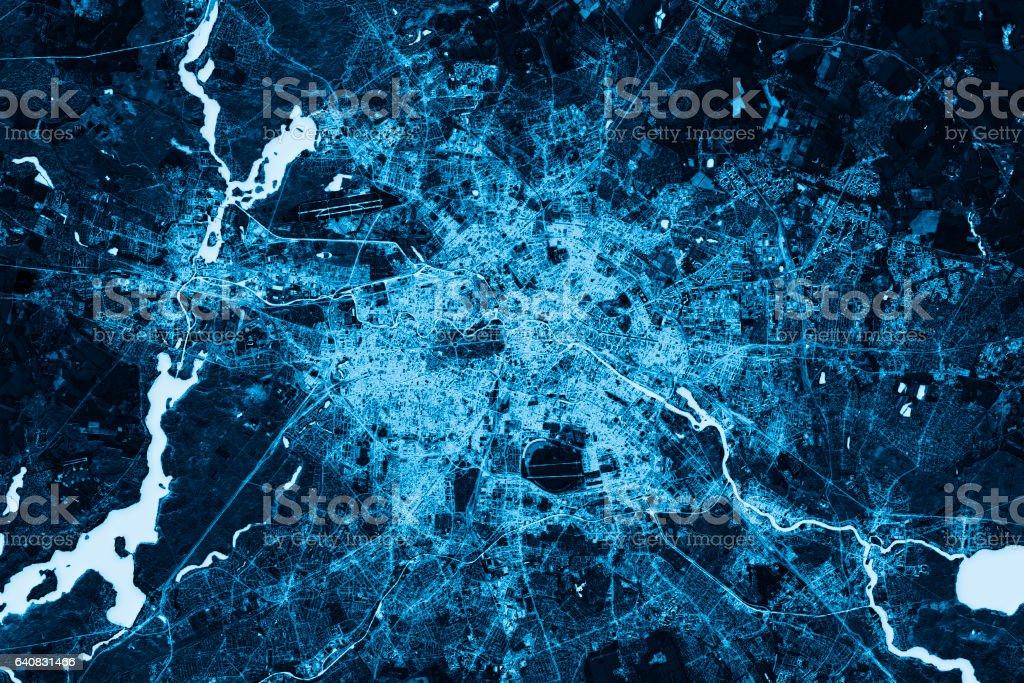 Berlin Abstract City Map Ansicht von oben dunkel – Foto
