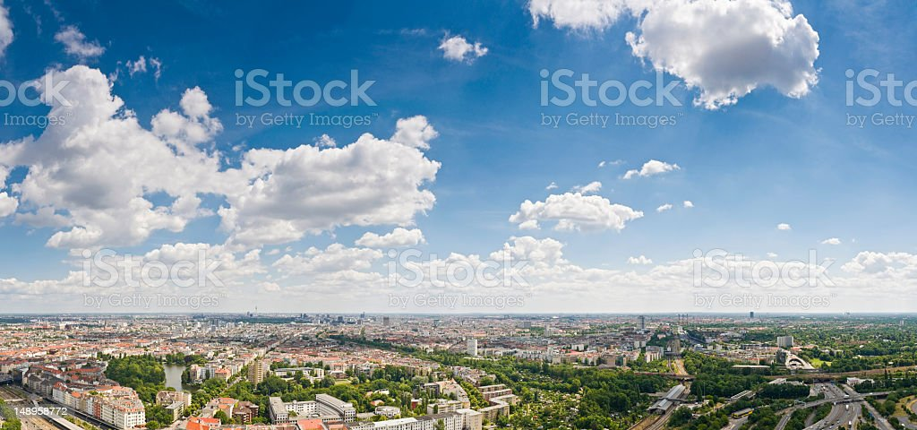 Berlin aerial cityscape panorama stock photo
