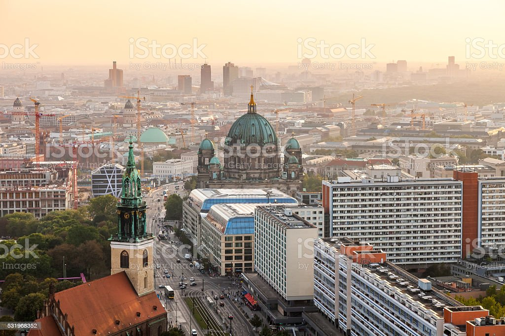 Berlin aerial view, Germany stock photo