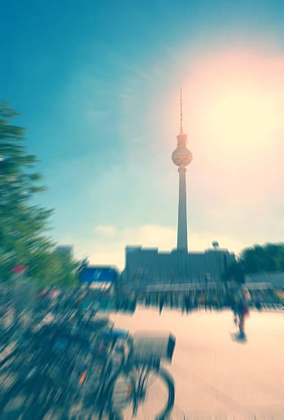 berlin alexanderplatz - bicycles, u-bahn - u bahn stock-fotos und bilder