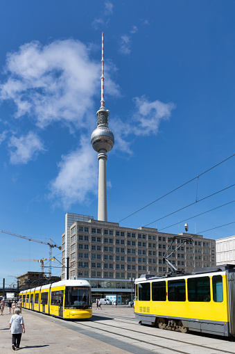 Berlin, Germany - Juli 22, 2013: Berlin Alexanderplatz with streetcars and fernsehturm