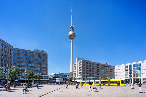 Berlin Alexanderplatz with yellow tram in Mitte, Berlin, Germany