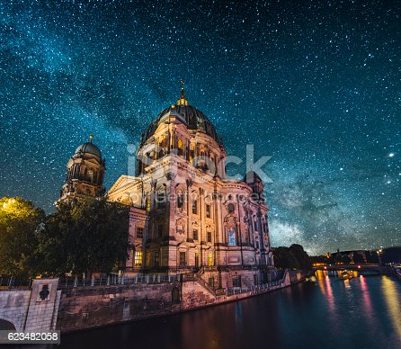 Berlin's cathedral at night under a starry sky