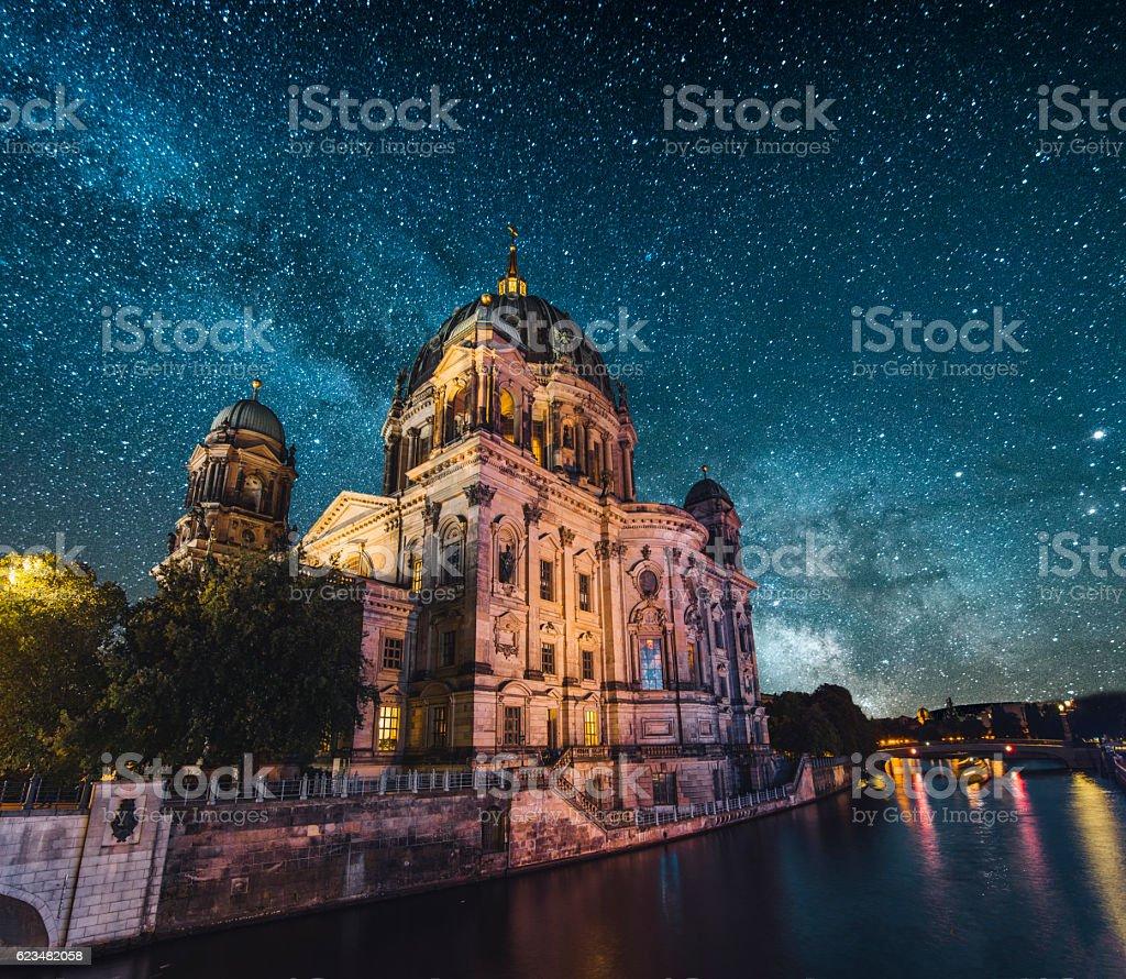 Berlin at night stock photo