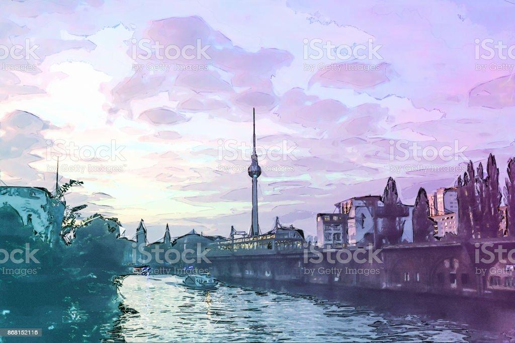 Berlin bei Sonnenuntergang - Alexanderplatz – Foto