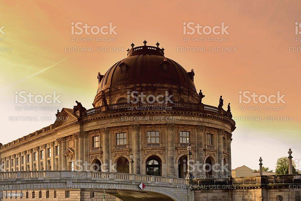 Berlin Bode Museum Front Island Sunset stock photo