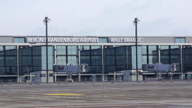 Berlin Brandenburg Airport BER, still under construction, empty terminal building, architecture tour stock photo