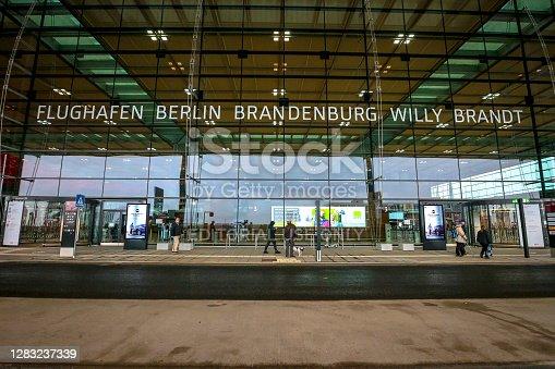Berlin, Germany - October 31, 2020: Exterior of Terminal 1 of newly opened Berlin Brandenburg International Airport (BER), or Flughafen Berlin Brandenburg Willy Brandt.
