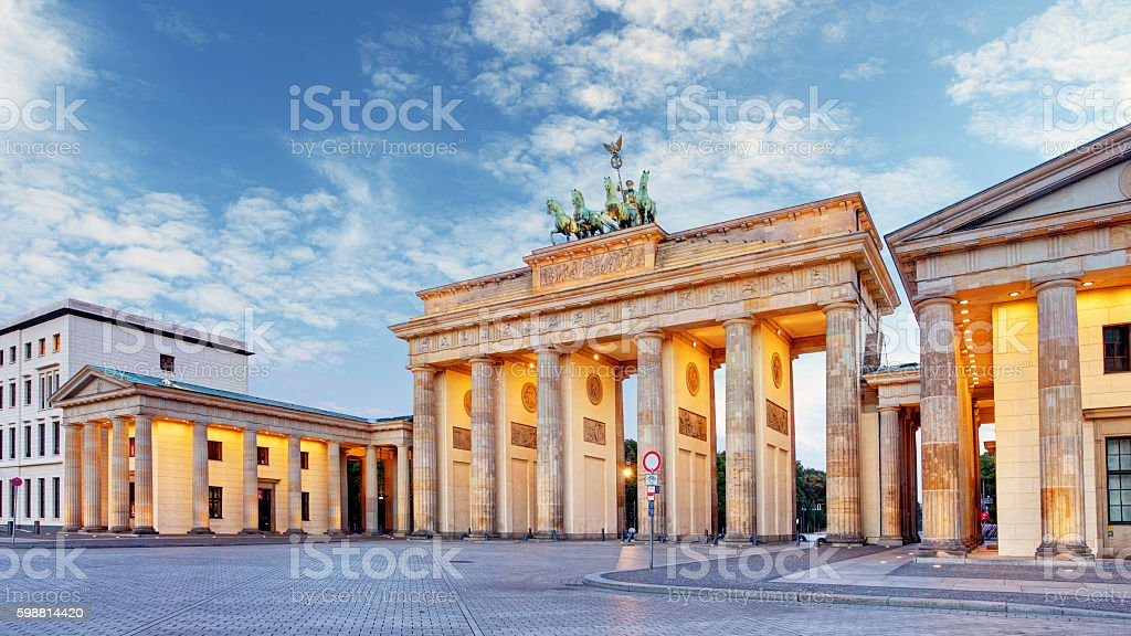 Berlin, brandenburg at sunrise, Germany stock photo