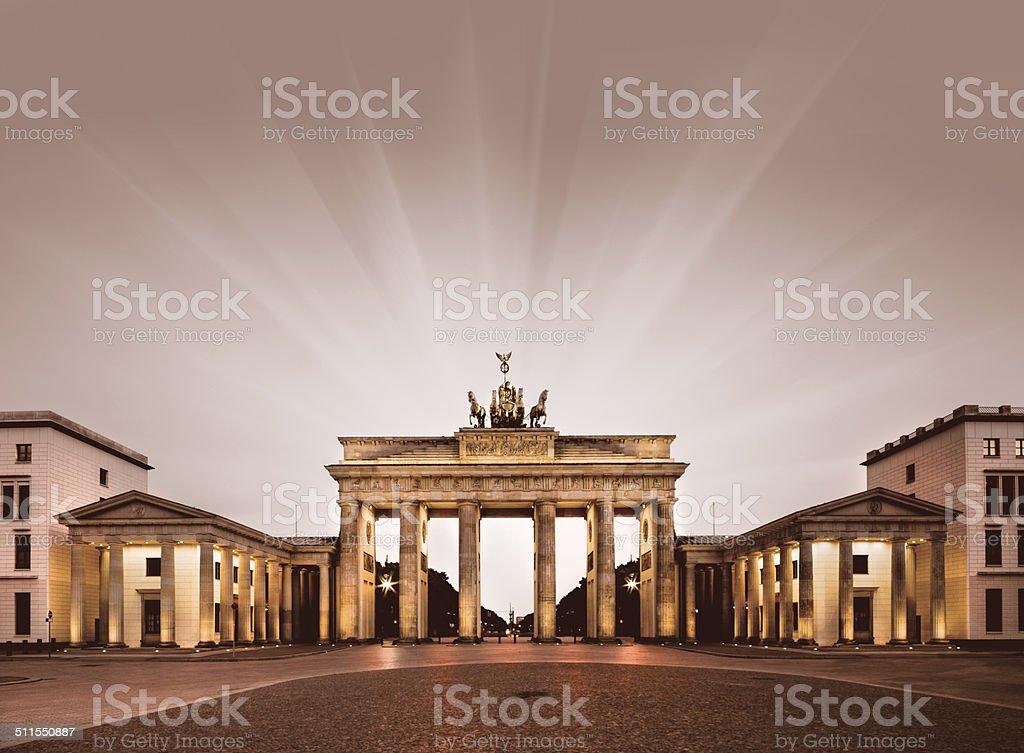 Berlin, Brandenburg Gate at night stock photo