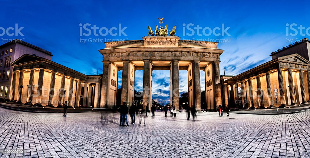 Berlin - Brandenburg Gate at night stock photo