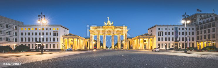 Panoramic view of famous Brandenburger Tor (Brandenburg Gate), one of the best-known landmarks and national symbols of Germany, during blue hour with retro vintage Instagram VSCO filter, Berlin, Germany
