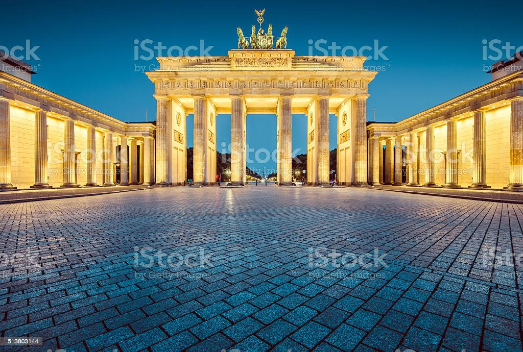Berlin Brandenburg Gate in twilight, Germany stock photo