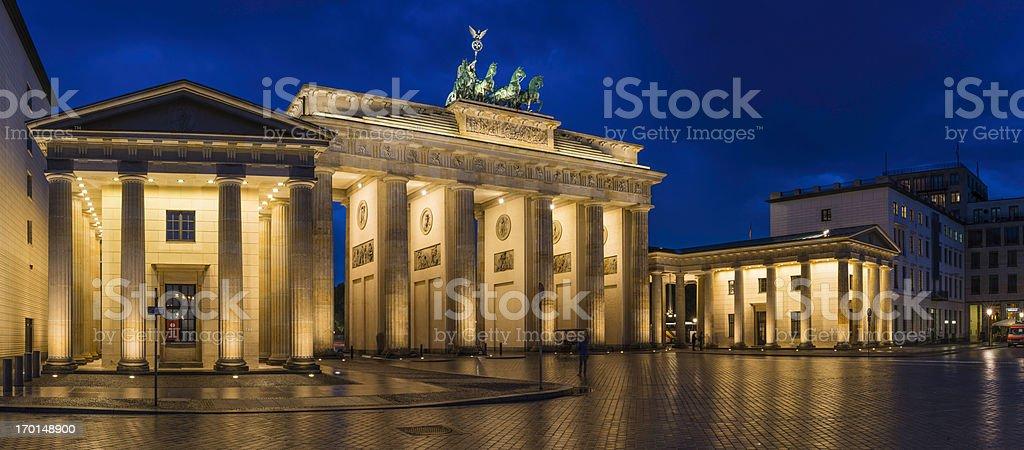 Berlin Brandenburg Gate landmark panorama illuminated at dusk Germany stock photo