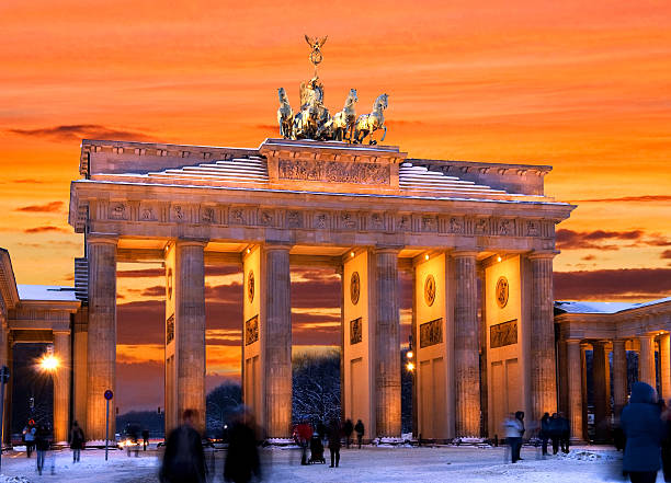berlin brandenburger tor winter sunset stock photo