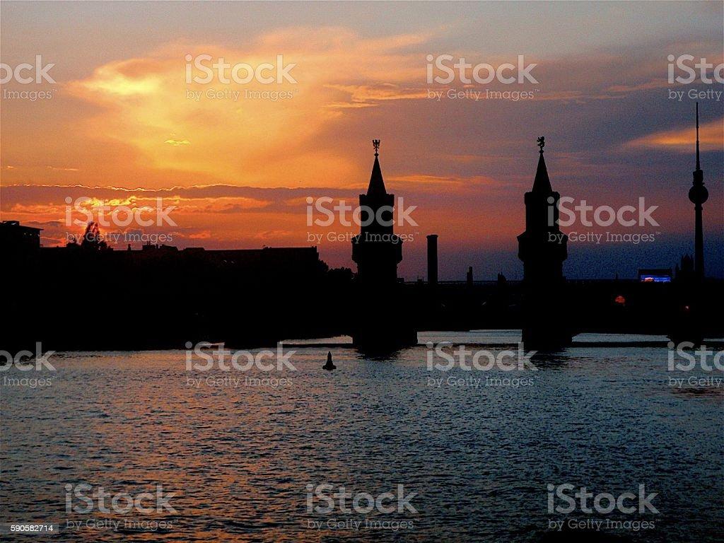 Berlin bridge from river stock photo