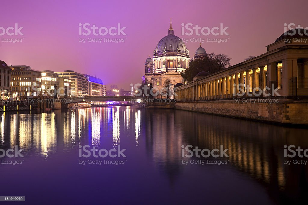 Berlin By Night, Museum Island and Dom stock photo