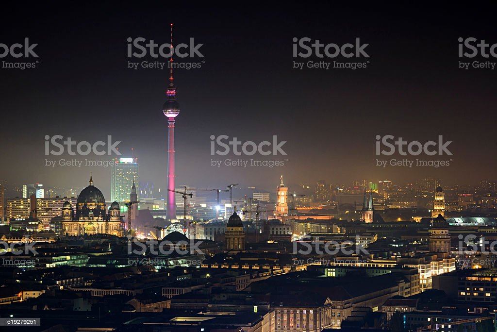 Berlin by night skyline stock photo