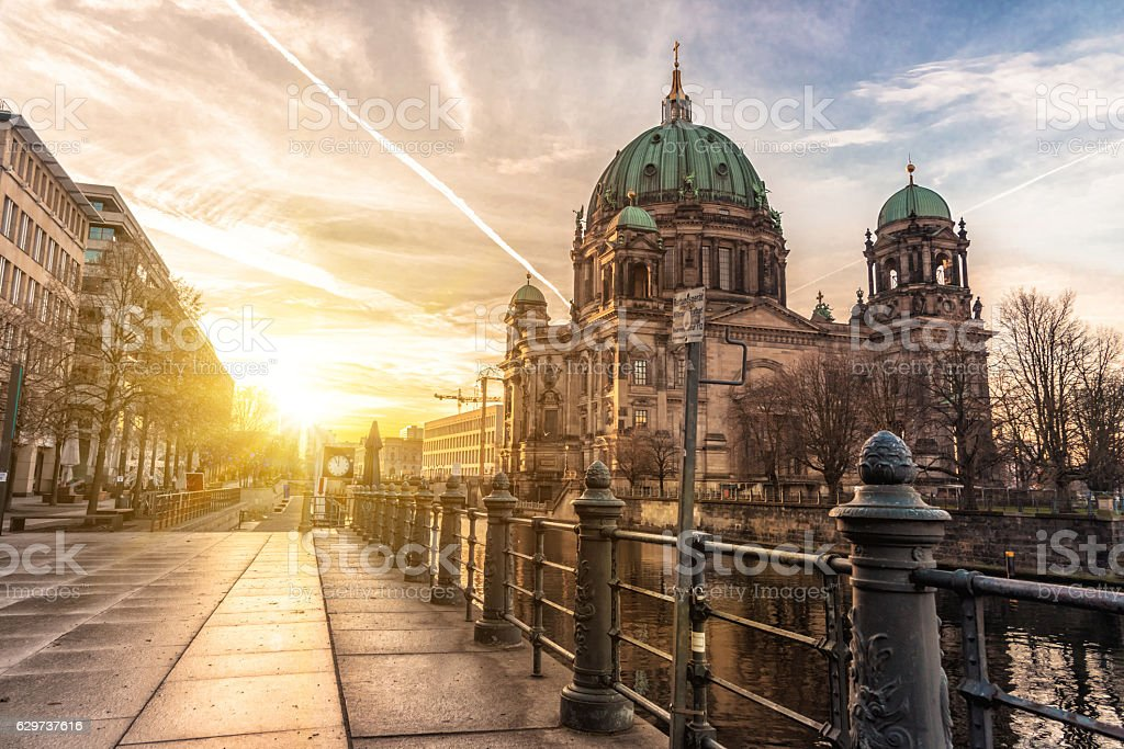 Berlin Cathedral in the light of morning sunrise stock photo