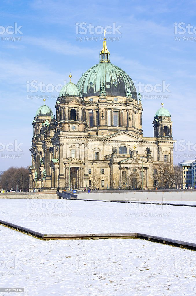 Berlin Cathedral (Berliner Dom) in Winter stock photo