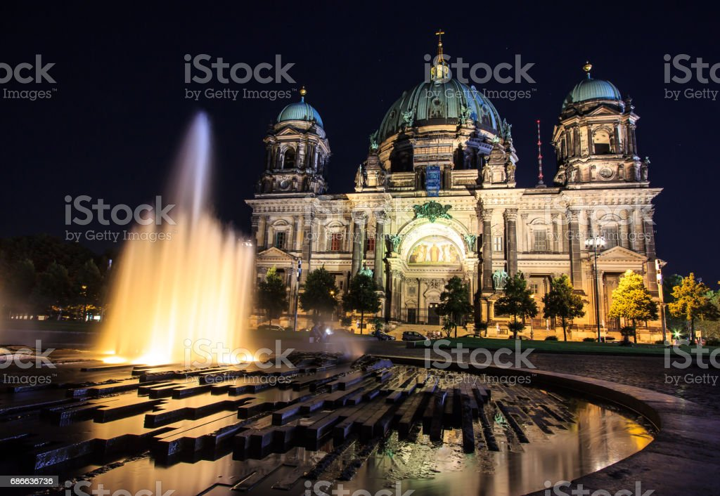 Berlin Cathedral (Berliner Dom) night view, Berlin, Germany royalty-free stock photo
