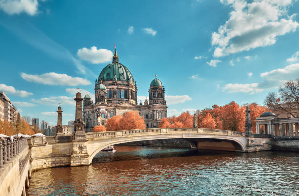 Berlin Cathedral with a bridge over Spree river in Autumn stock photo