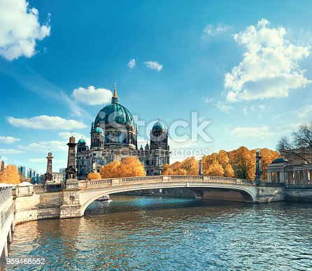 istock Berlin Cathedral with a bridge over Spree river in Autumn 959468552