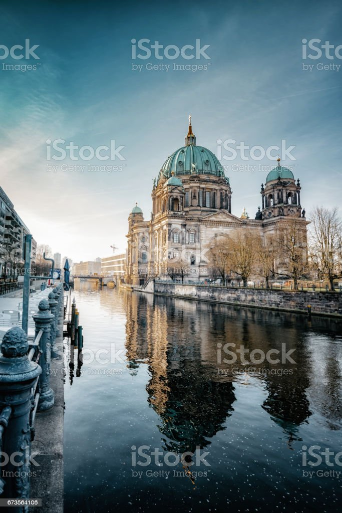 Berlin Cathedral with reflection in river at morning hour stock photo