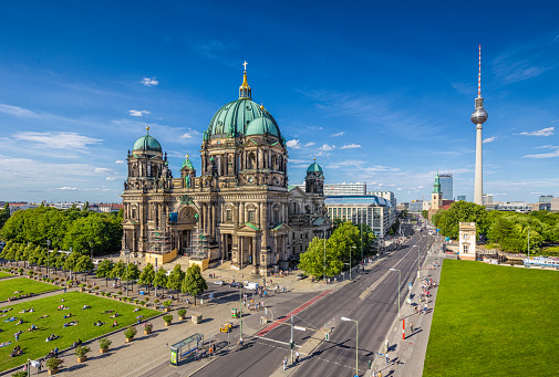 Berlin Cathedral with TV tower in summer, Berlin, Germany
