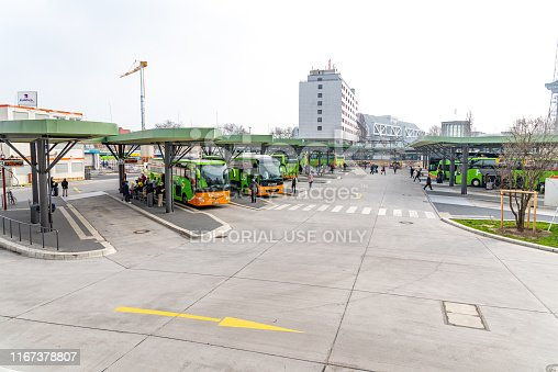 Berlin, Berlin/Germany - 24.03.2019: An overview of the bus station Berlin with buses, covered waiting areas and lanes.