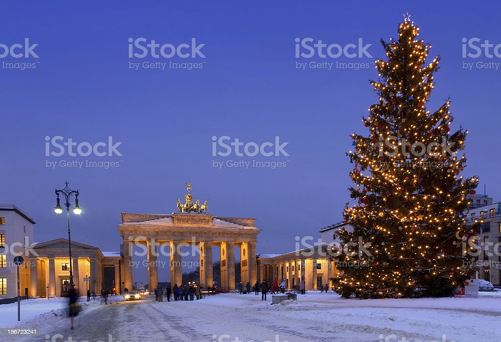 berlin christmas brandenburg gate stock photo