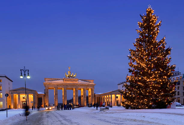 berlin christmas brandenburg gate stock photo